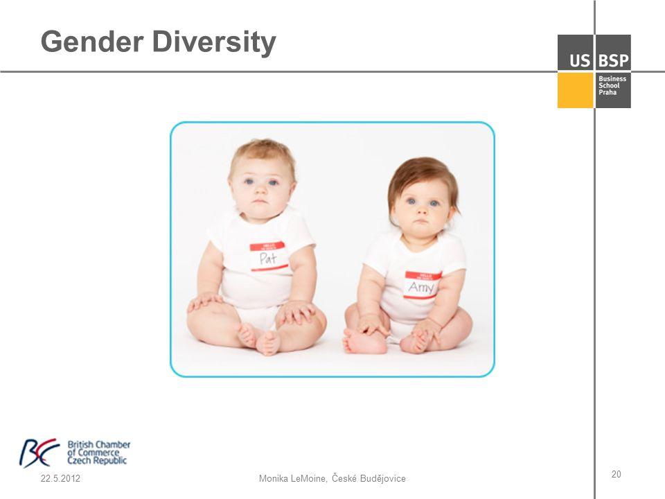 22.5.2012Monika LeMoine, České Budějovice 20 Gender Diversity