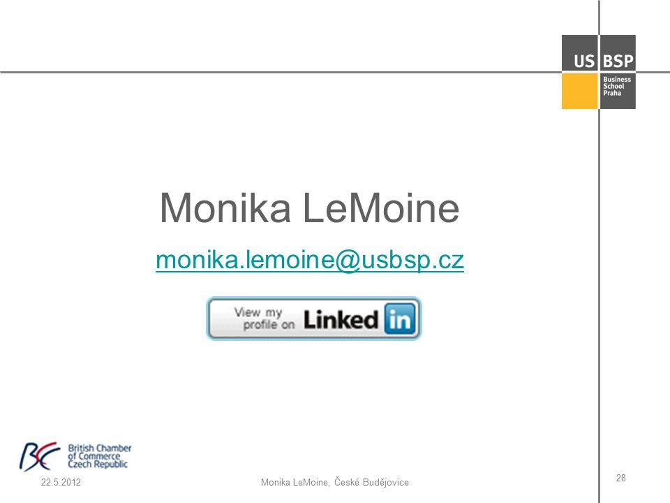 22.5.2012Monika LeMoine, České Budějovice 28 Monika LeMoine monika.lemoine@usbsp.cz