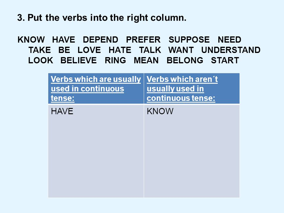 3. Put the verbs into the right column.