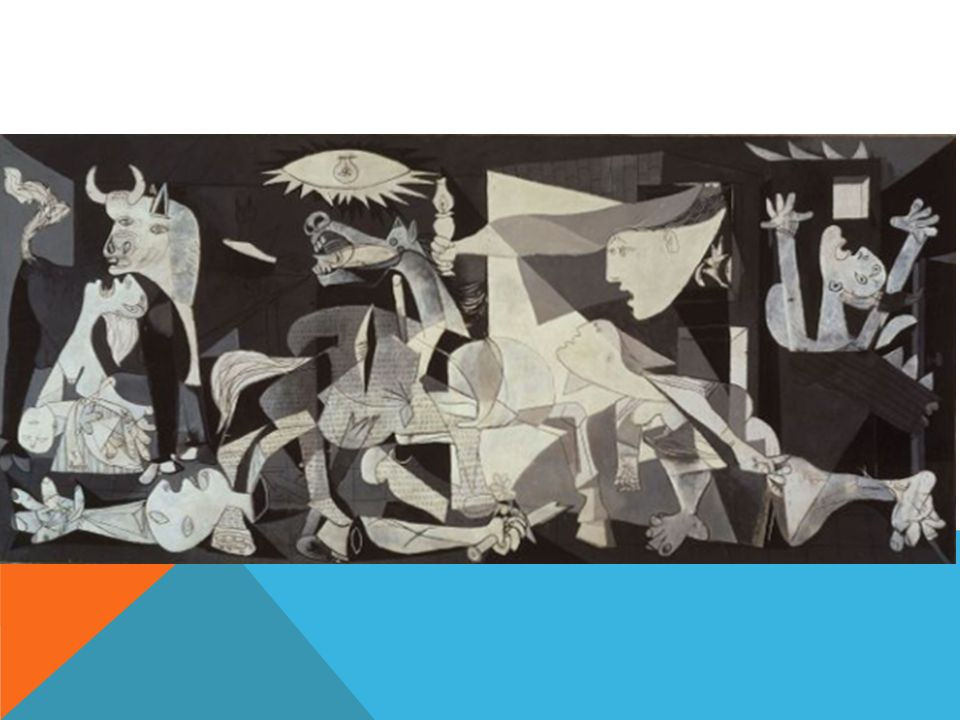GUERNICA shows suffering people, animals, and buildings wrenched by violence and chaos.