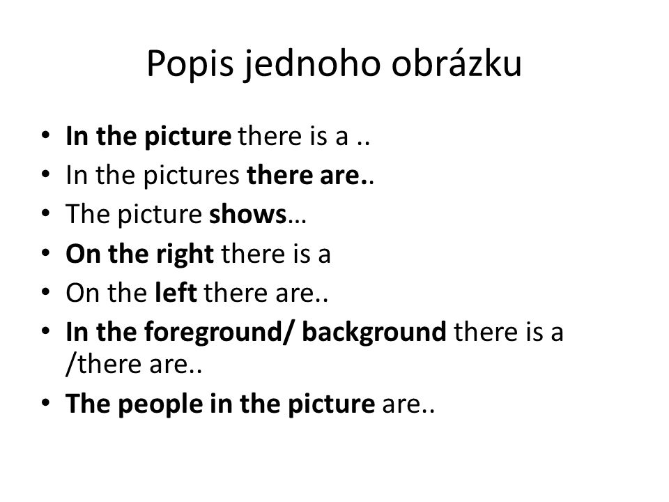 Popis jednoho obrázku In the picture there is a..In the pictures there are..