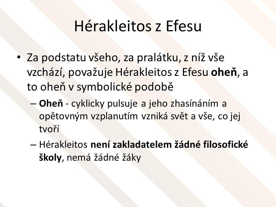 Hérakleitos z Efesu Za podstatu všeho, za pralátku, z níž vše vzchází, považuje Hérakleitos z Efesu oheň, a to oheň v symbolické podobě – Oheň - cykli