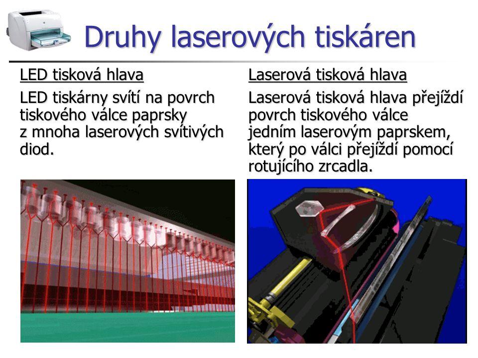 Druhy laserových tiskáren LED tisková hlava Laserová tisková hlava LED tiskárny svítí na povrchLaserová tisková hlava přejíždí tiskového válce paprsky