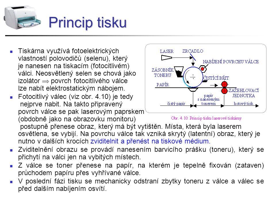 Princip tisku Tiskárna využívá fotoelektrických vlastností polovodičů (selenu), který je nanesen na tiskacím (fotocitlivém) válci. Neosvětlený selen s
