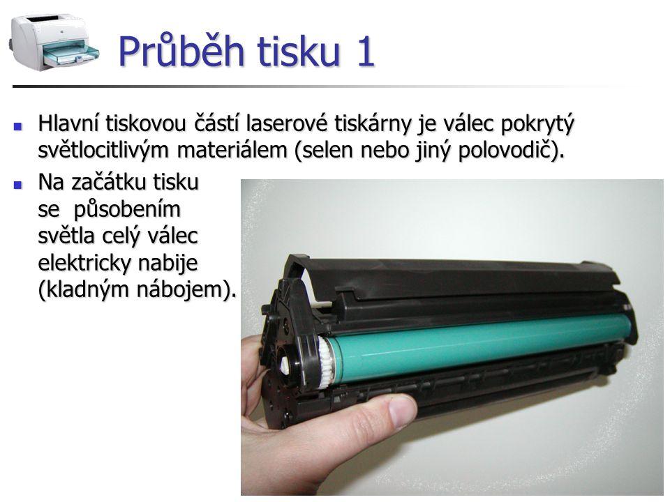 Průběh tisku 1 Hlavní tiskovou částí laserové tiskárny je válec pokrytý světlocitlivým materiálem (selen nebo jiný polovodič). Hlavní tiskovou částí l