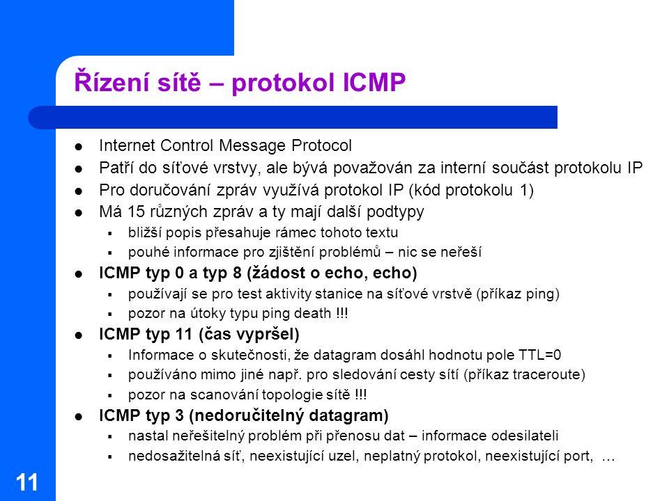 11 Řízení sítě – protokol ICMP Internet Control Message Protocol Patří do síťové vrstvy, ale bývá považován za interní součást protokolu IP Pro doručo