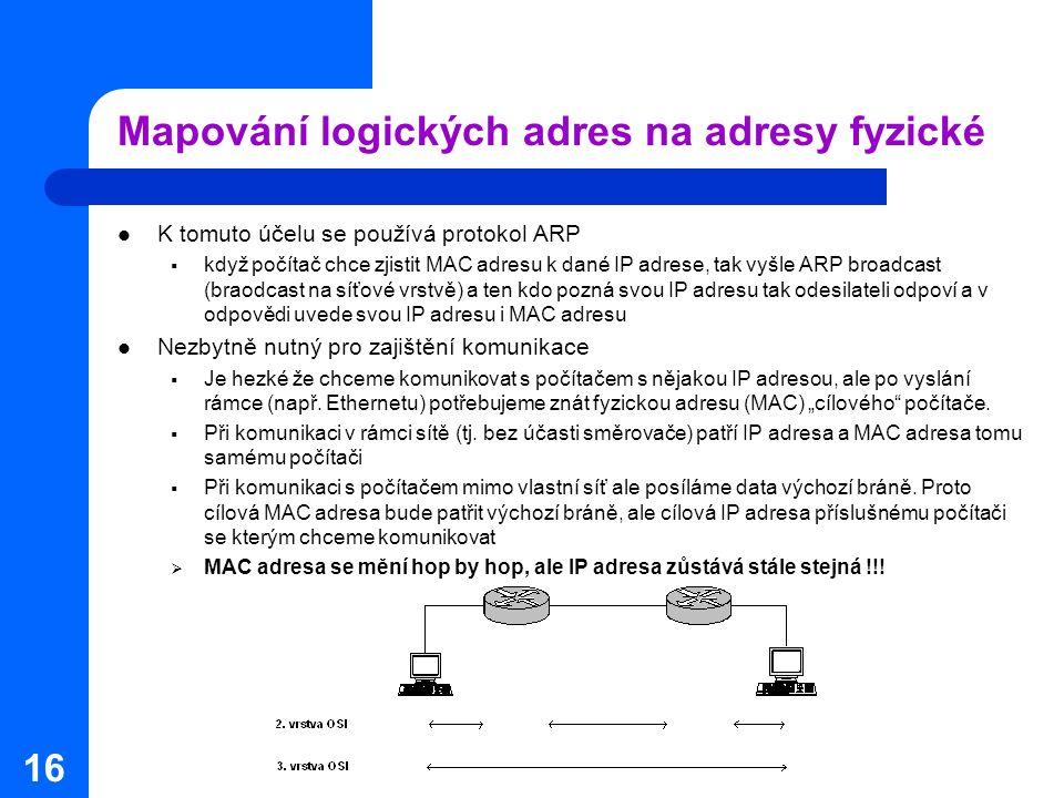 16 Mapování logických adres na adresy fyzické K tomuto účelu se používá protokol ARP  když počítač chce zjistit MAC adresu k dané IP adrese, tak vyšle ARP broadcast (braodcast na síťové vrstvě) a ten kdo pozná svou IP adresu tak odesilateli odpoví a v odpovědi uvede svou IP adresu i MAC adresu Nezbytně nutný pro zajištění komunikace  Je hezké že chceme komunikovat s počítačem s nějakou IP adresou, ale po vyslání rámce (např.