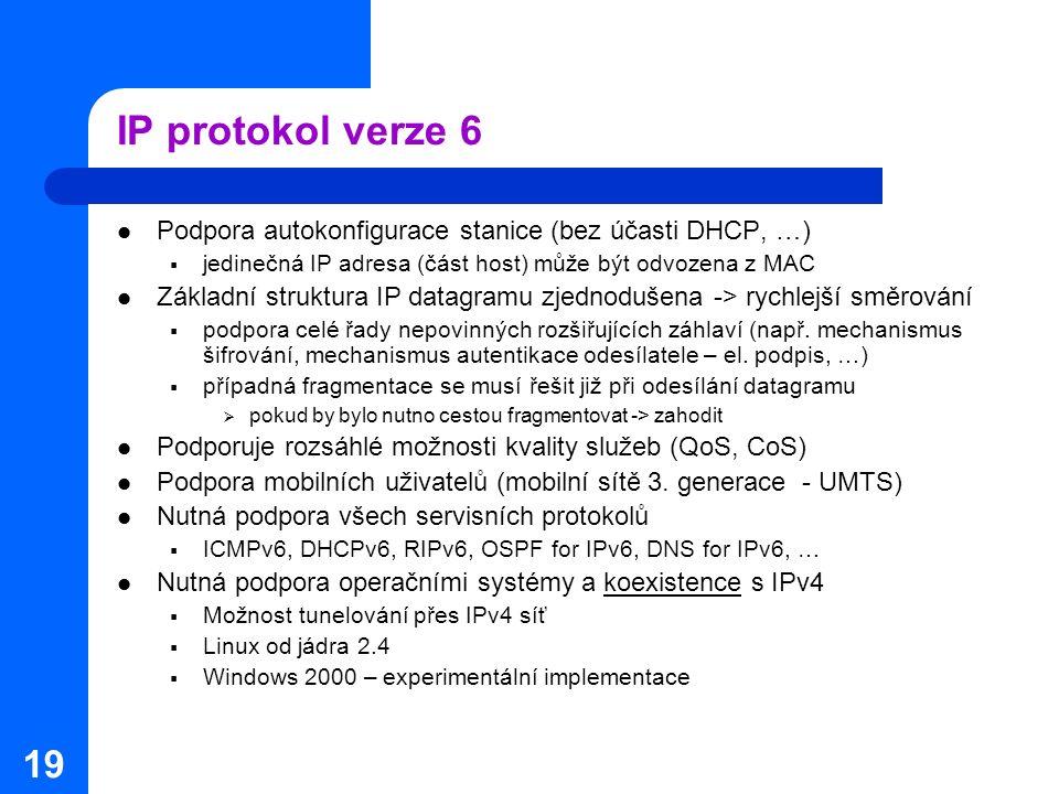 19 IP protokol verze 6 Podpora autokonfigurace stanice (bez účasti DHCP, …)  jedinečná IP adresa (část host) může být odvozena z MAC Základní struktu