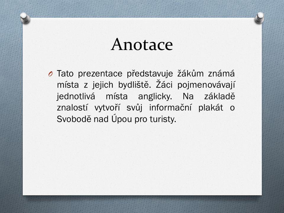 Anotace O Tato prezentace představuje žákům známá místa z jejich bydliště.
