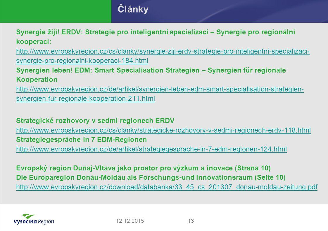 Synergie žijí! ERDV: Strategie pro inteligentní specializaci – Synergie pro regionální kooperaci: http://www.evropskyregion.cz/cs/clanky/synergie-ziji