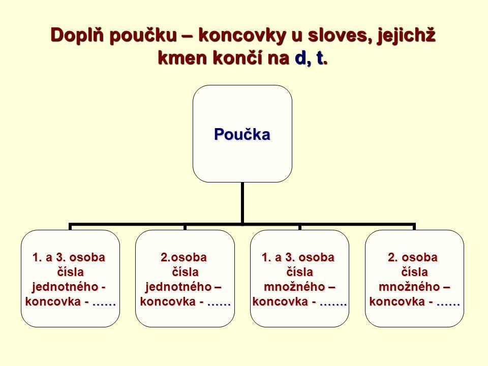 Doplň poučku – koncovky u sloves, jejichž kmen končí na d, t.