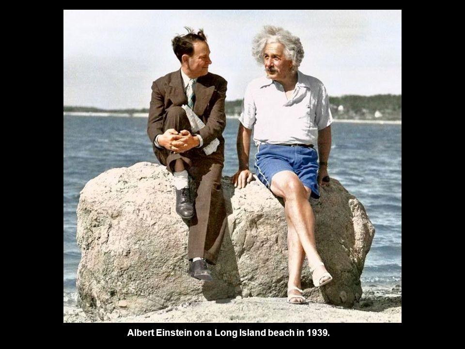 Albert Einstein on a Long Island beach in 1939.