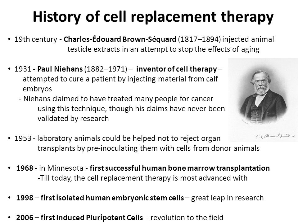 Prerequisites for cell replacement therapy 1) Unlimited supply of tissue and organ-specific cells, which are capable of circumventing immunogenic rejection (similar to organ transplantation) Available sources: + Stem cells from placenta and umbilical cord blood and xenogenic cells