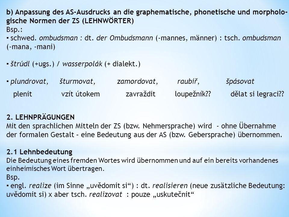 b) Anpassung des AS-Ausdrucks an die graphematische, phonetische und morpholo- gische Normen der ZS (LEHNWÖRTER) Bsp.: ▪ schwed.
