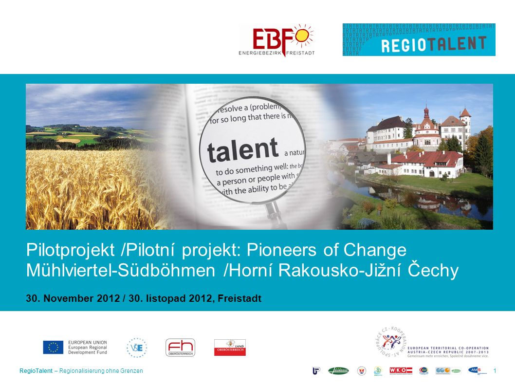 RegioTalent – Regionalisierung ohne Grenzen1 Pilotprojekt /Pilotní projekt: Pioneers of Change Mühlviertel-Südböhmen /Horní Rakousko-Jižní Čechy 30.