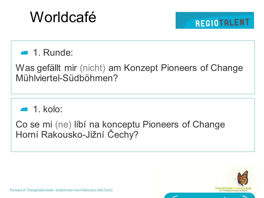 Worldcafé 1. Runde: Was gefällt mir (nicht) am Konzept Pioneers of Change Mühlviertel-Südböhmen? 16Pioneers of Change Mühlviertel – Südböhmen / Horní