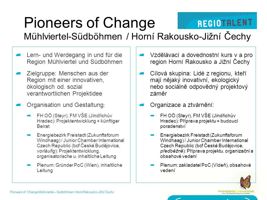 Pioneers of Change Mühlviertel-Südböhmen / Horní Rakousko-Jižní Čechy Lern- und Werdegang in und für die Region Mühlviertel und Südböhmen Zielgruppe: Menschen aus der Region mit einer innovativen, ökologisch od.