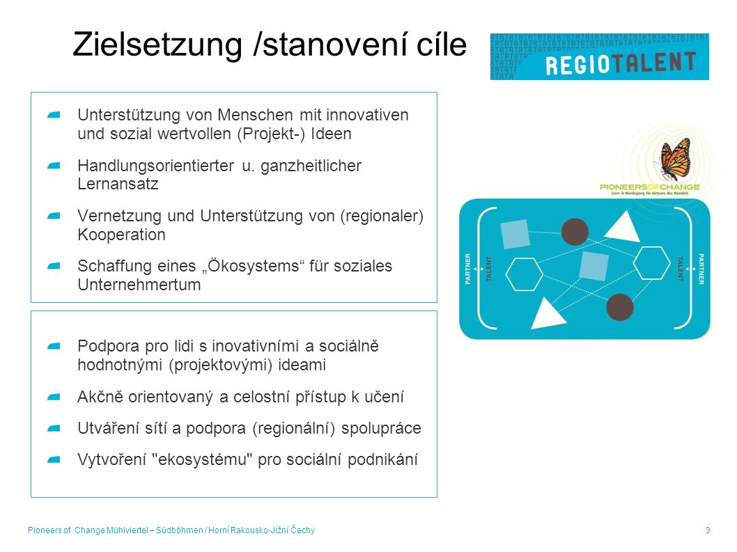 Zielsetzung /stanovení cíle Unterstützung von Menschen mit innovativen und sozial wertvollen (Projekt-) Ideen Handlungsorientierter u.