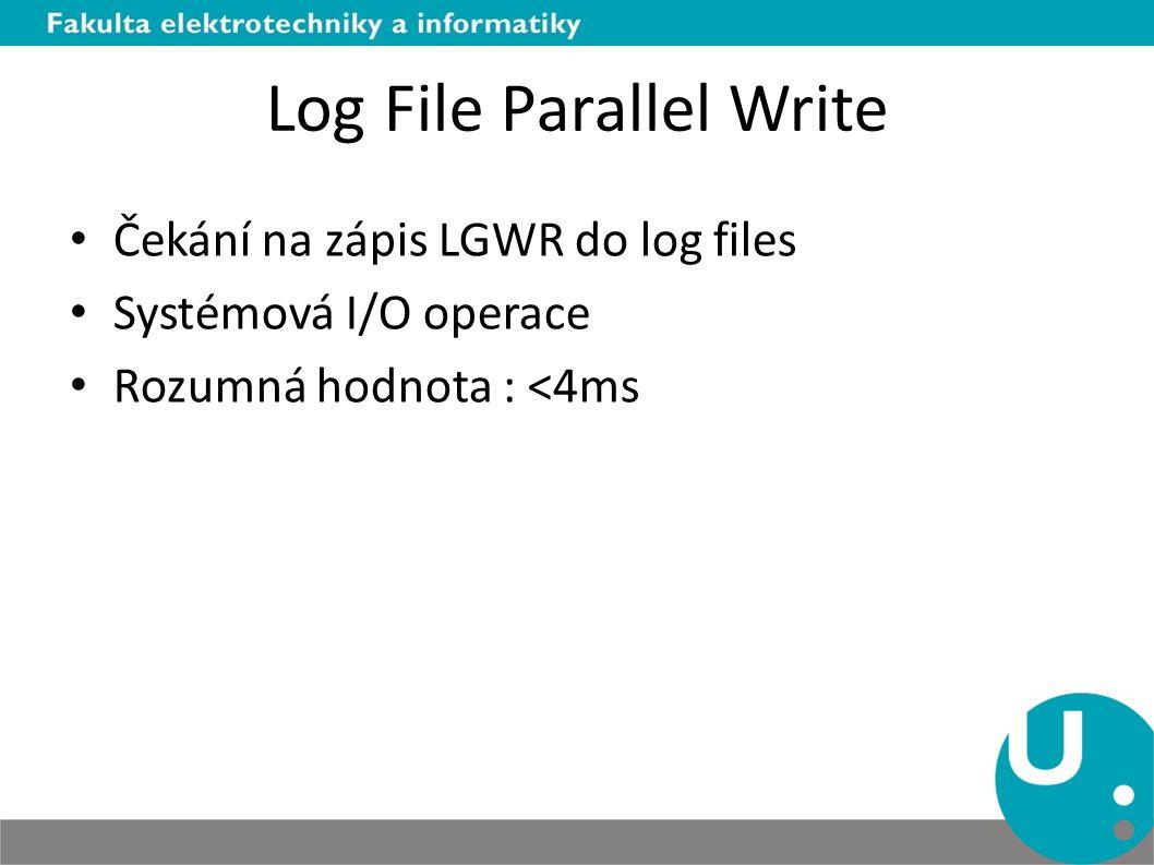 Log File Parallel Write Čekání na zápis LGWR do log files Systémová I/O operace Rozumná hodnota : <4ms