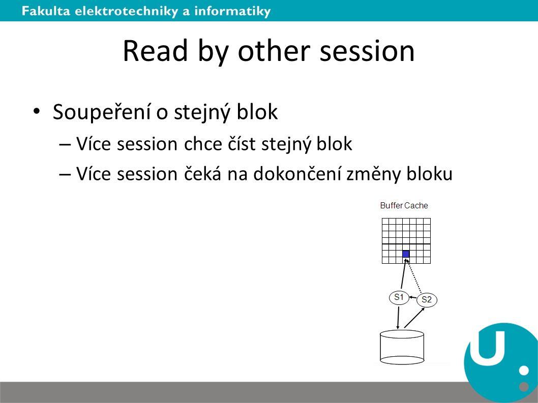 Read by other session Soupeření o stejný blok – Více session chce číst stejný blok – Více session čeká na dokončení změny bloku