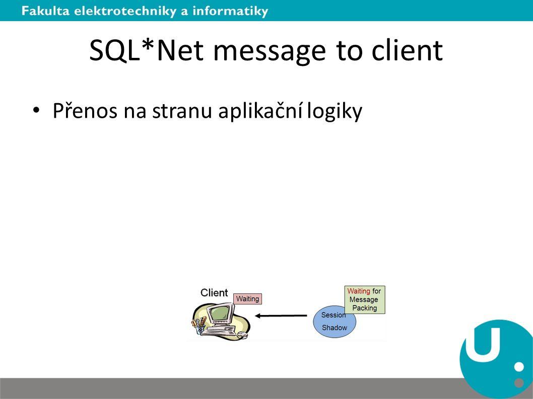 SQL*Net message to client Přenos na stranu aplikační logiky