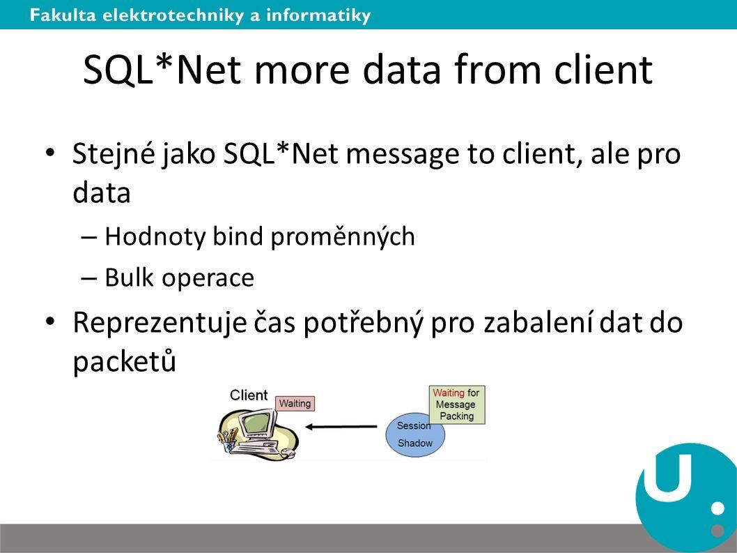 SQL*Net more data from client Stejné jako SQL*Net message to client, ale pro data – Hodnoty bind proměnných – Bulk operace Reprezentuje čas potřebný pro zabalení dat do packetů