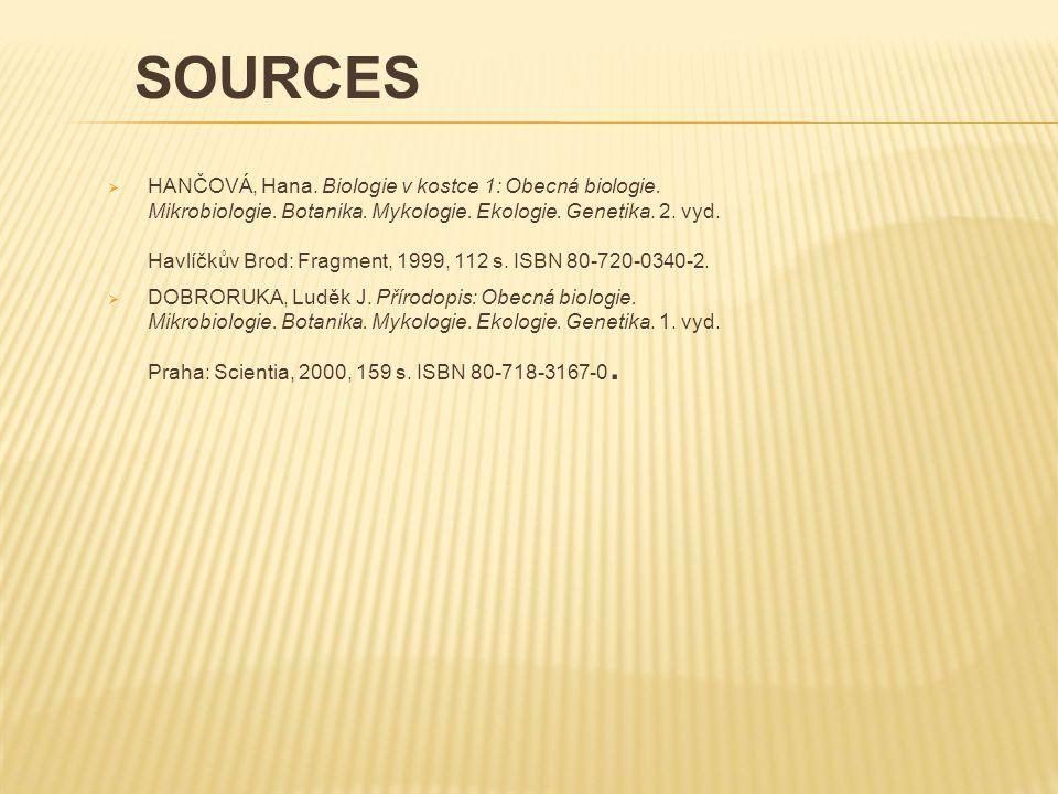  HANČOVÁ, Hana. Biologie v kostce 1: Obecná biologie. Mikrobiologie. Botanika. Mykologie. Ekologie. Genetika. 2. vyd. Havlíčkův Brod: Fragment, 1999,