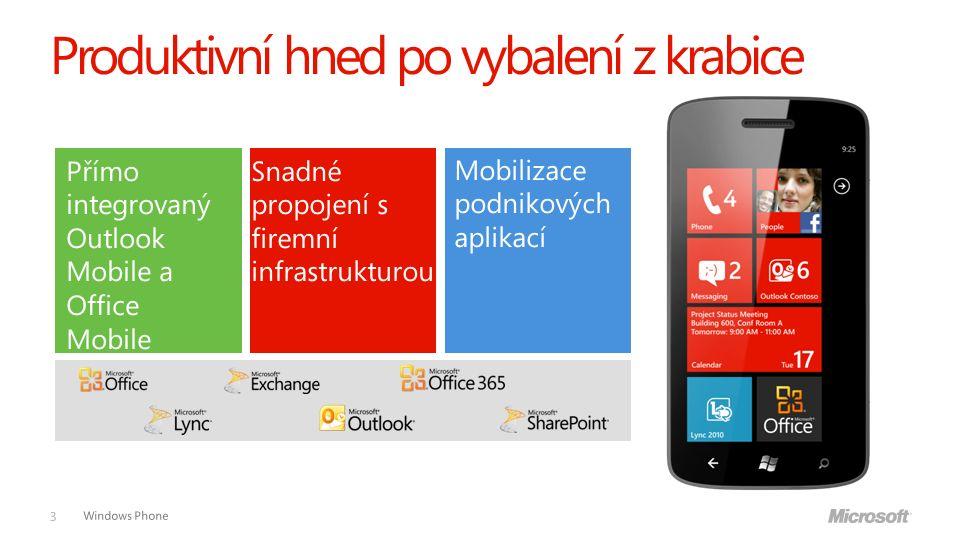 Windows Phone Produktivní hned po vybalení z krabice 3 Přímo integrovaný Outlook Mobile a Office Mobile Snadné propojení s firemní infrastrukturou Mobilizace podnikových aplikací