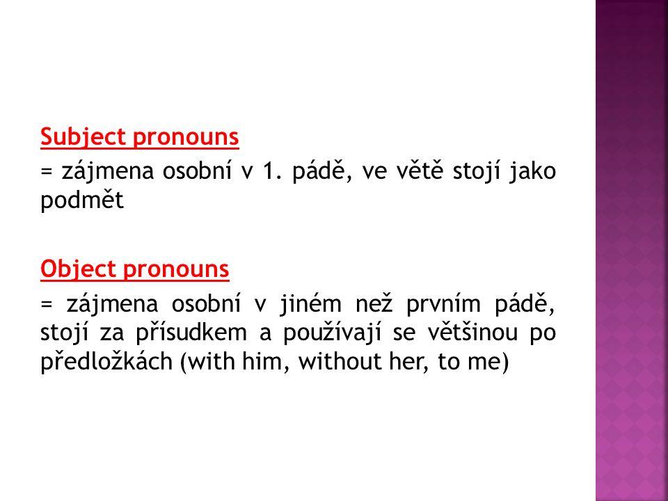 Subject pronouns = zájmena osobní v 1. pádě, ve větě stojí jako podmět Object pronouns = zájmena osobní v jiném než prvním pádě, stojí za přísudkem a