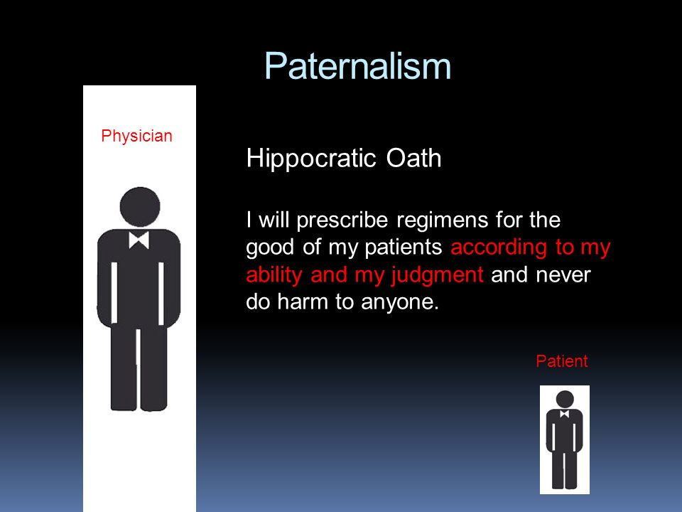 Paternalism Patient Physician Hippocratic Oath I will prescribe regimens for the good of my patients according to my ability and my judgment and never