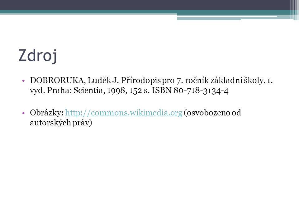 Zdroj DOBRORUKA, Luděk J. Přírodopis pro 7. ročník základní školy. 1. vyd. Praha: Scientia, 1998, 152 s. ISBN 80-718-3134-4 Obrázky: http://commons.wi