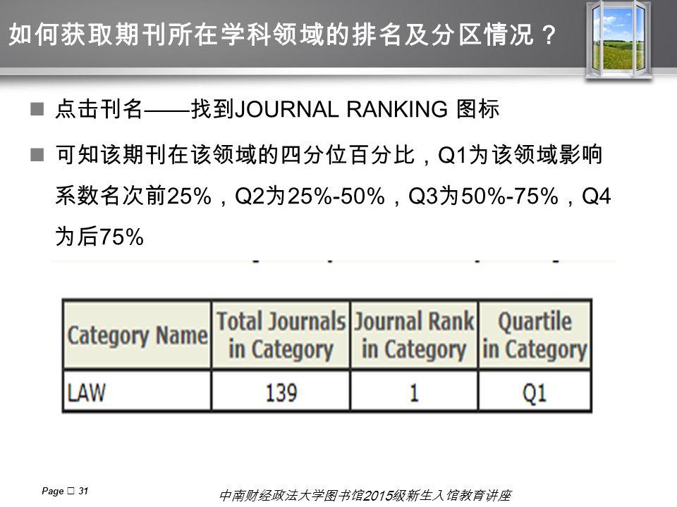 中南财经政法大学图书馆 2015 级新生入馆教育讲座 如何获取期刊所在学科领域的排名及分区情况? 点击刊名 —— 找到 JOURNAL RANKING 图标 可知该期刊在该领域的四分位百分比, Q1 为该领域影响 系数名次前 25% , Q2 为 25%-50% , Q3 为 50%-75% , Q4 为后 75% Page  31