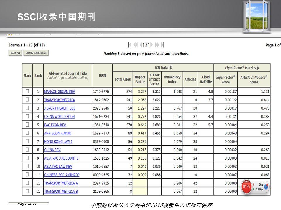 中南财经政法大学图书馆 2015 级新生入馆教育讲座 SSCI 收录中国期刊 Page  33