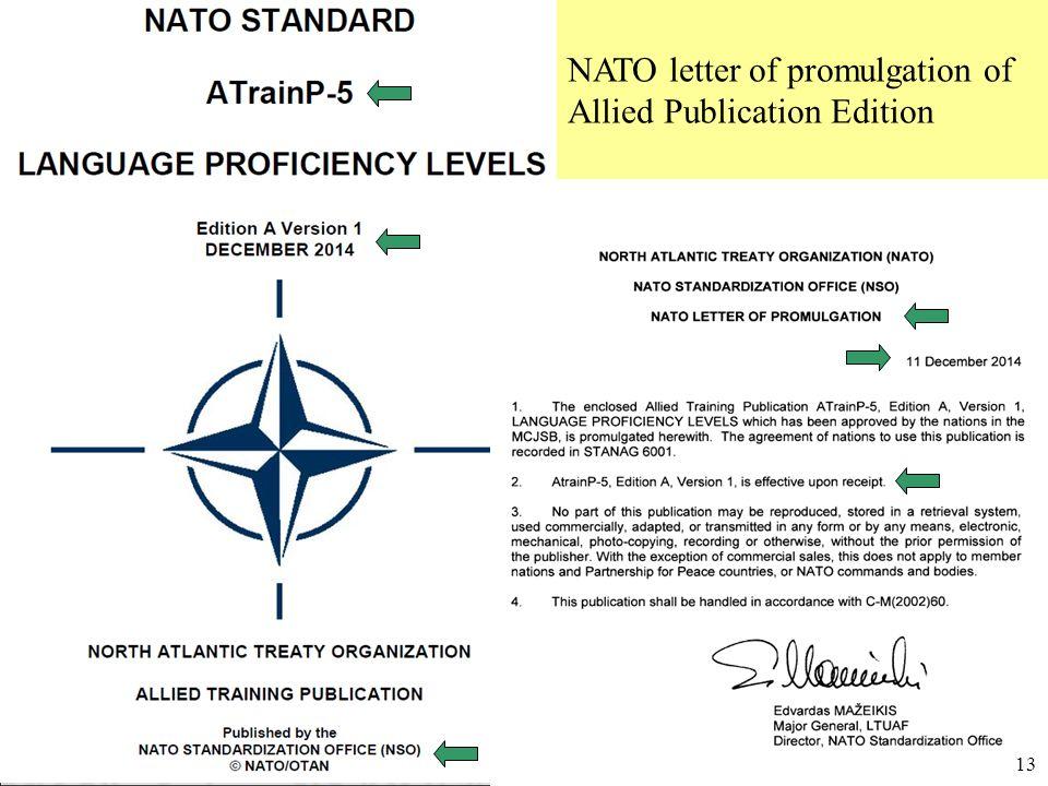 Úřad pro obrannou standardizaci, katalogizaci a státní ověřování jakosti Odbor obranné standardizace NATO letter of promulgation of Allied Publication Edition 13