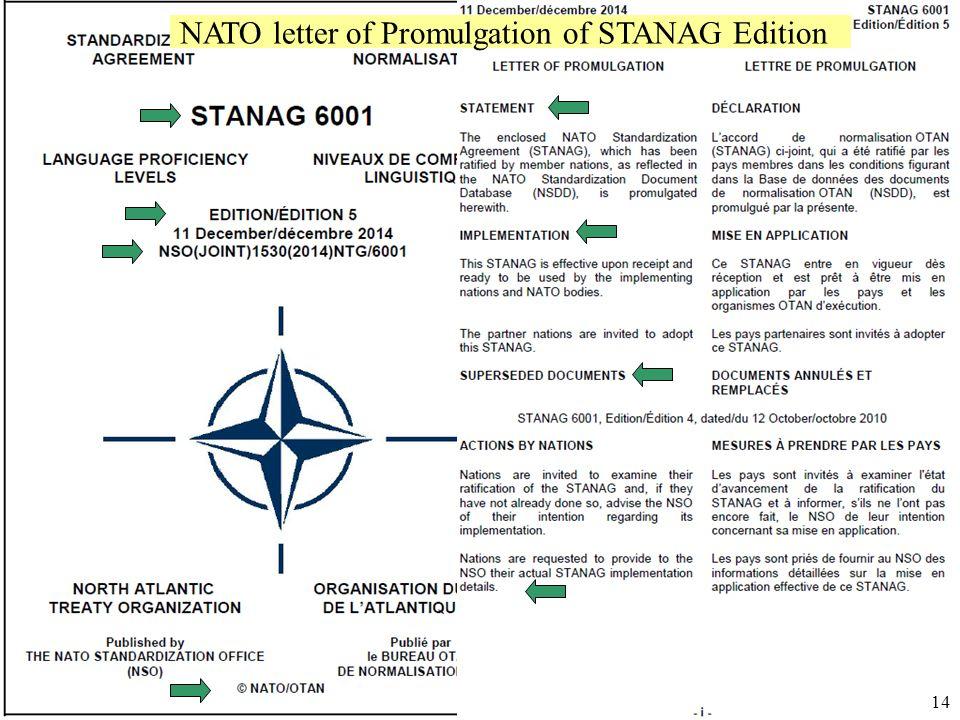 Úřad pro obrannou standardizaci, katalogizaci a státní ověřování jakosti Odbor obranné standardizace NATO letter of Promulgation of STANAG Edition 14