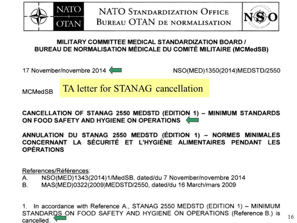 Úřad pro obrannou standardizaci, katalogizaci a státní ověřování jakosti Odbor obranné standardizace 16 TA letter for STANAG cancellation