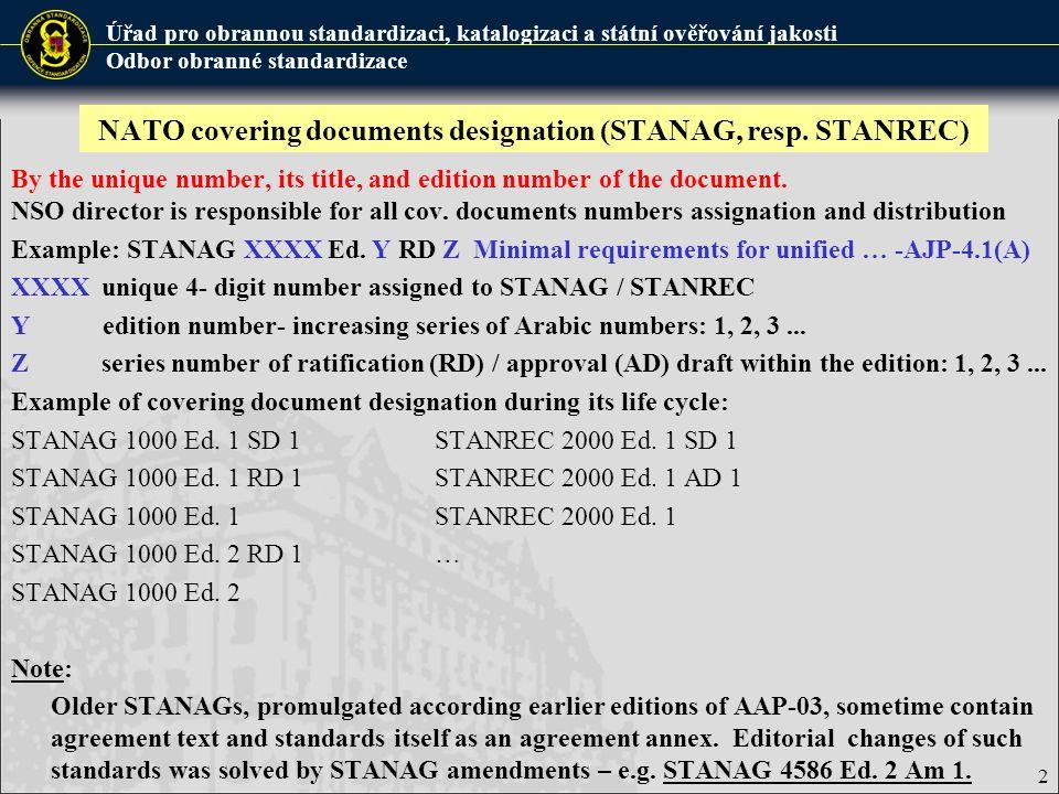 Úřad pro obrannou standardizaci, katalogizaci a státní ověřování jakosti Odbor obranné standardizace 3 Allied publication designation (AP) By the unique short title (alphanumeric code), title and edition number of the document.