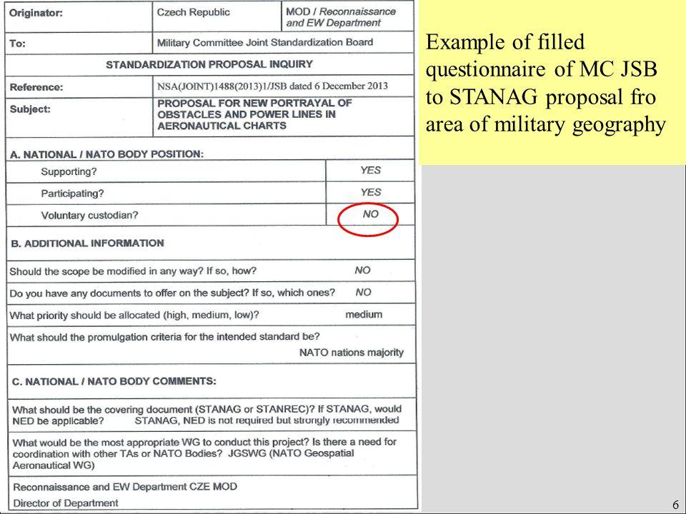Úřad pro obrannou standardizaci, katalogizaci a státní ověřování jakosti Odbor obranné standardizace 6 Example of filled questionnaire of MC JSB to STANAG proposal fro area of military geography