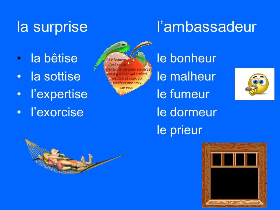 la surprisel'ambassadeur la bêtisele bonheur la sottisele malheur l'expertisele fumeur l'exorcisele dormeur le prieur