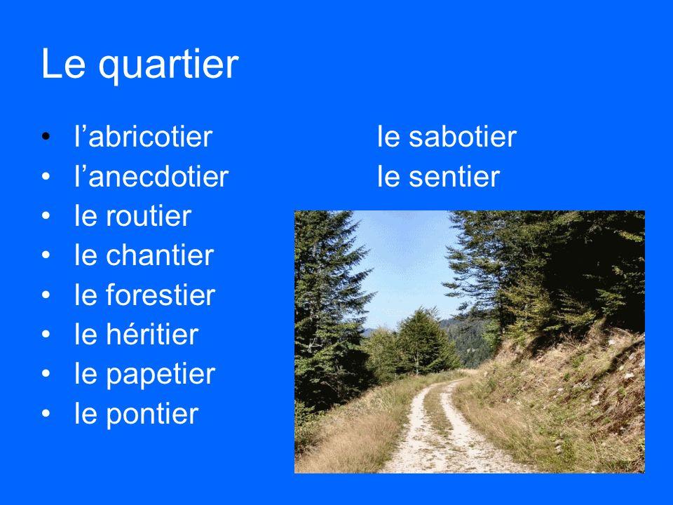 Le quartier l'abricotierle sabotier l'anecdotierle sentier le routier le chantier le forestier le héritier le papetier le pontier