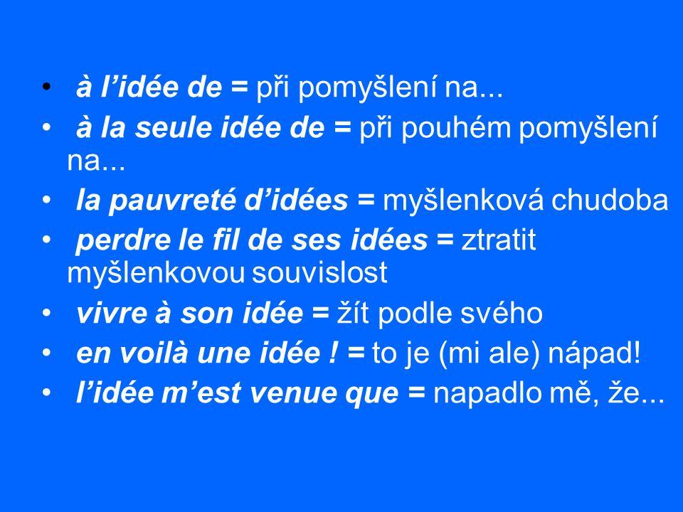c'est un homme à idées = to je nápaditý muž faites à votre idée = jednejte podle svého il me revient à l'idée que = znovu mě napadá, že