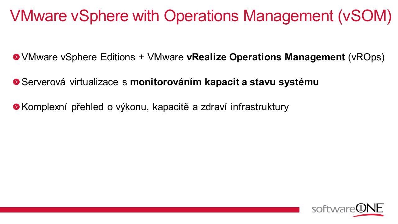 VMware vSphere Editions + VMware vRealize Operations Management (vROps) Serverová virtualizace s monitorováním kapacit a stavu systému Komplexní přehl