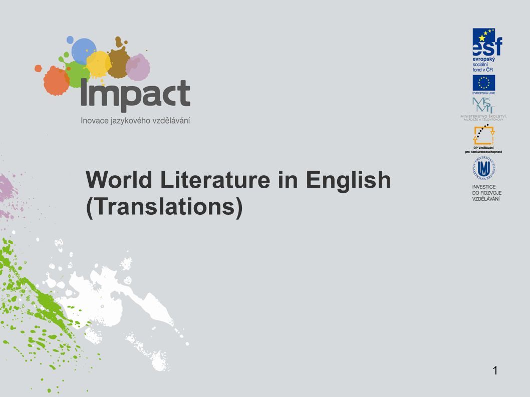 World Literature in English (Translations) 1