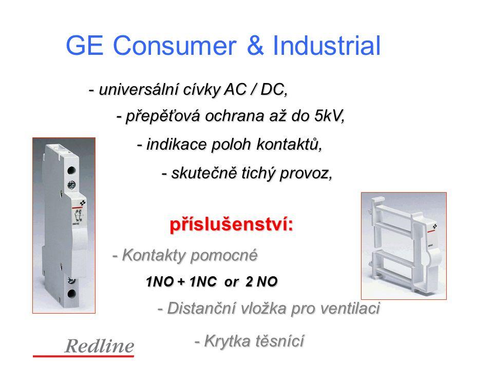 GE Consumer & Industrial - universální cívky AC / DC, - universální cívky AC / DC, - přepěťová ochrana až do 5kV, - indikace poloh kontaktů, - skutečně tichý provoz, příslušenství: - Kontakty pomocné 1NO + 1NC or 2 NO - Distanční vložka pro ventilaci - Krytka těsnící