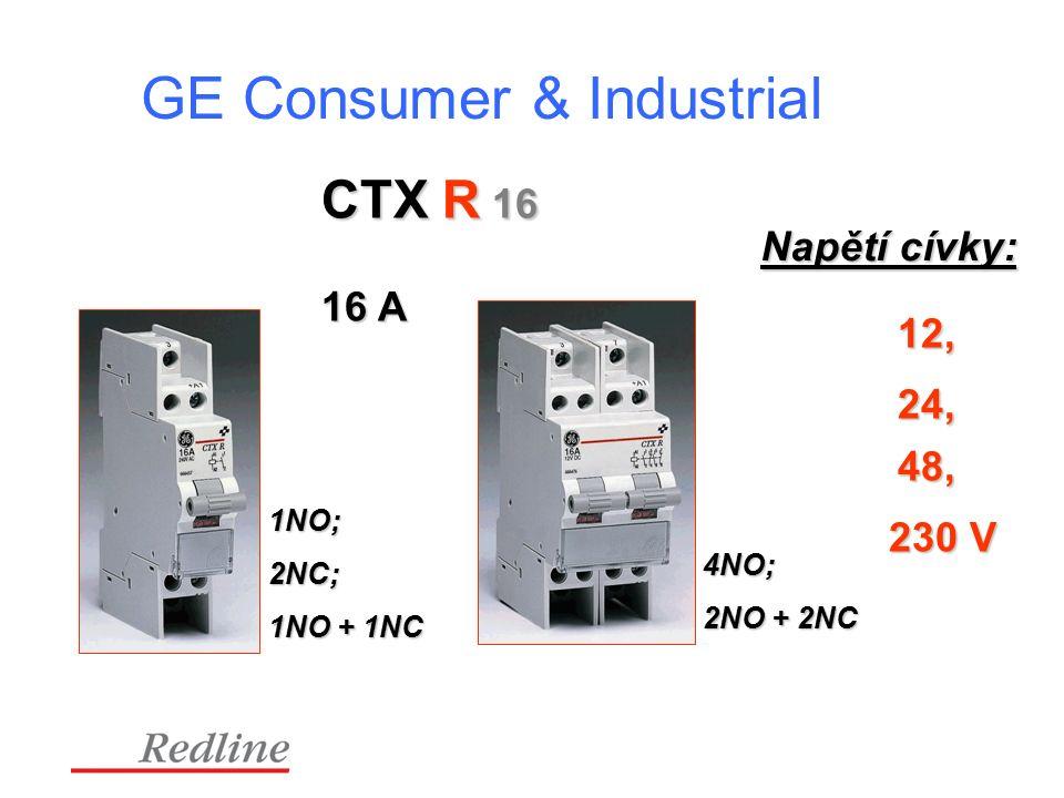 GE Consumer & Industrial CTX R 16 1NO; 2NC; 1NO + 1NC 4NO; 2NO + 2NC 16 A Napětí cívky: 12, 24, 48, 230 V