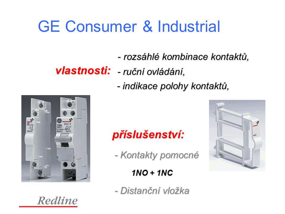GE Consumer & Industrial - rozsáhlé kombinace kontaktů, - rozsáhlé kombinace kontaktů, - ruční ovládání, - indikace polohy kontaktů, příslušenství: - Kontakty pomocné 1NO + 1NC - Distanční vložka vlastnosti: