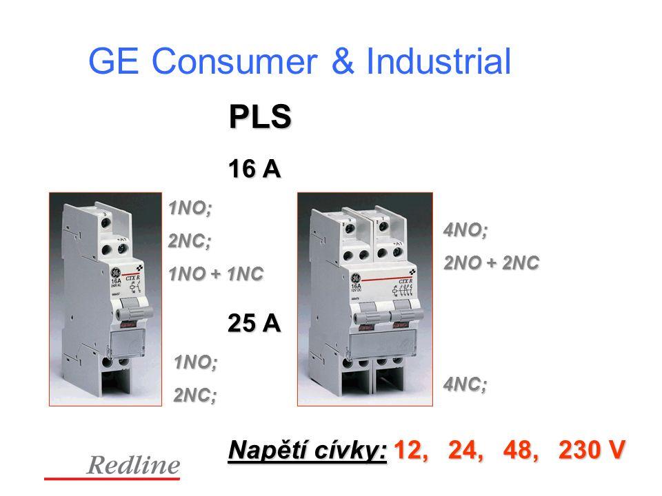 GE Consumer & Industrial PLS 1NO; 2NC; 1NO + 1NC 4NO; 2NO + 2NC 16 A Napětí cívky: 12,24,48, 230 V 25 A 1NO; 2NC; 4NC;