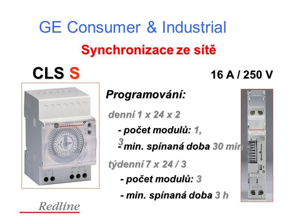 GE Consumer & Industrial CLS S Programování: denní 1 x 24 x 2 - počet modulů: 1, 3 Synchronizace ze sítě týdenní 7 x 24 / 3 - min.
