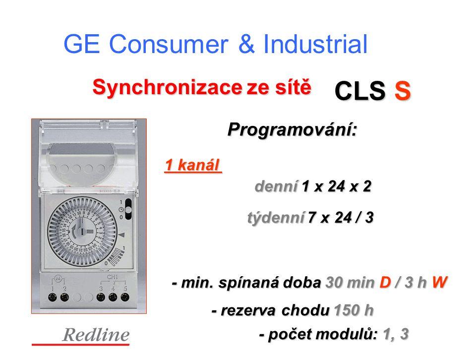 GE Consumer & Industrial - rezerva chodu 150 h Synchronizace ze sítě CLS S Programování: denní 1 x 24 x 2 týdenní 7 x 24 / 3 1 kanál - min.