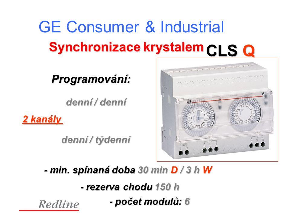 GE Consumer & Industrial Synchronizace krystalem CLS Q Programování: denní / denní denní / týdenní 2 kanály - rezerva chodu 150 h - počet modulů: 6 - min.